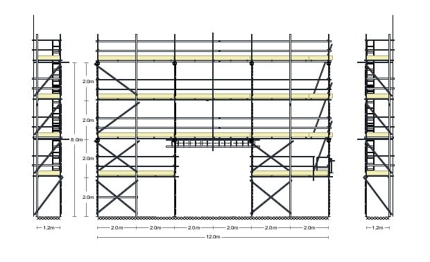 Technical scaffold drawing