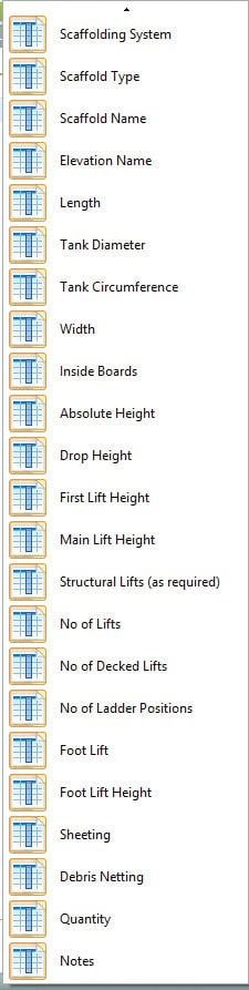 List of scaffold options