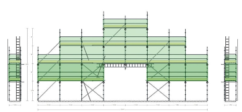 Technical drawing of scaffold