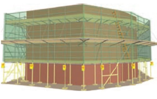 Scaffold model with netting and safety lamps
