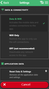 Reset data and settings