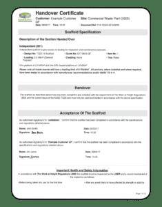 Handover certificate