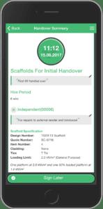 Scaffold handover app