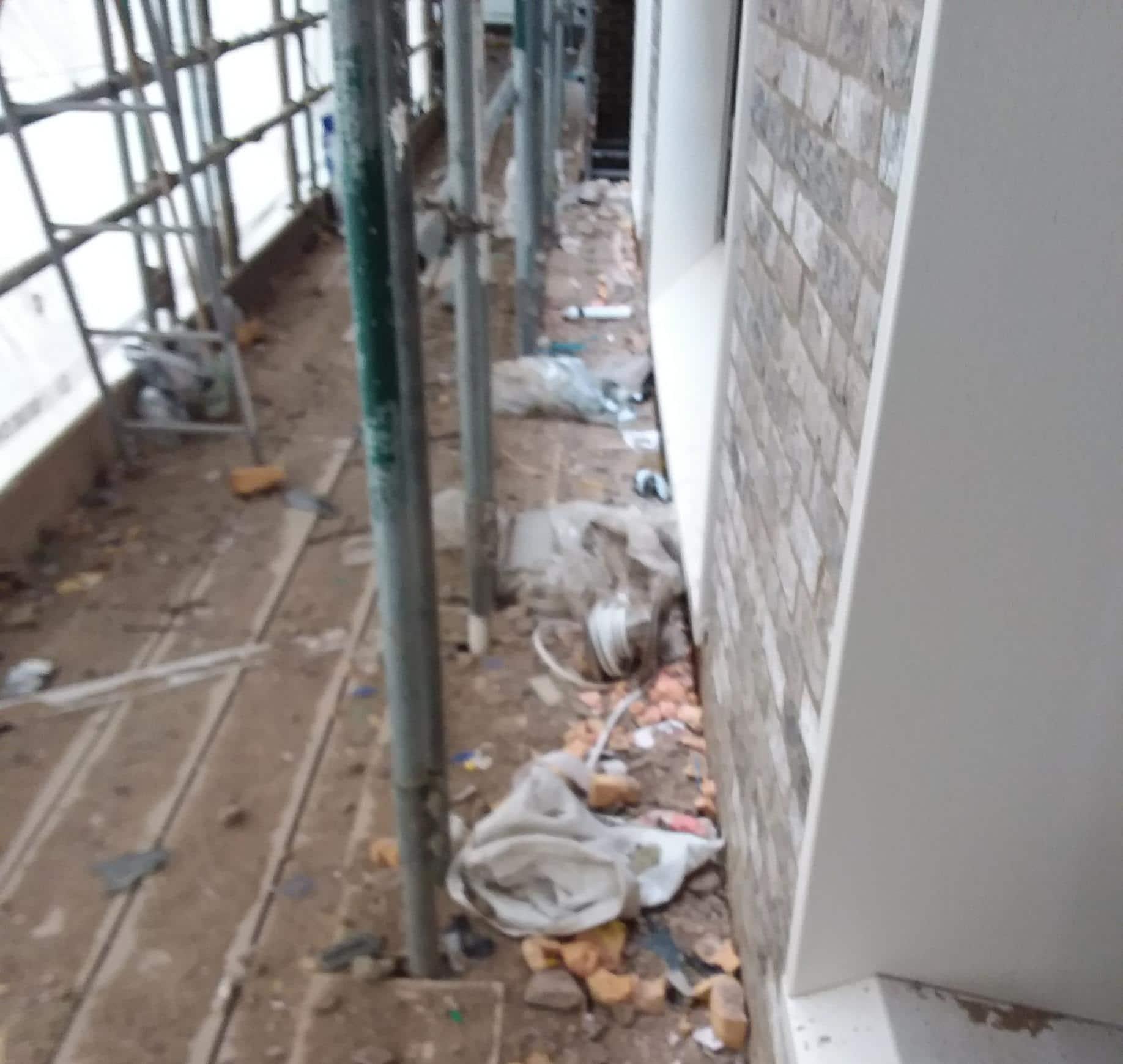 Debris on scaffolding